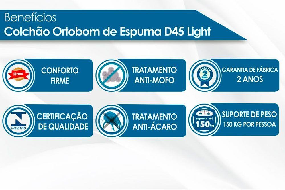 Conjunto Baú - Colchão Ortobom D45 Light Selado + Cama Box Baú Universal CRC Courino Black