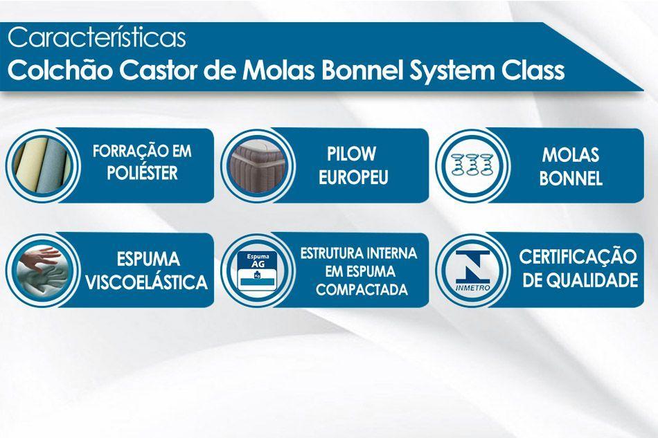 Conjunto Baú - Colchão Castor de Molas Bonnel Class New One Face + Cama Box Baú Universal CRC Camurça Black