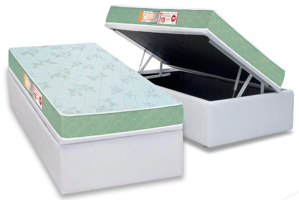Conjunto Baú - Colchão Castor de Espuma D33 Sleep Max + Cama Box Baú Universal CRC Courino Bianco
