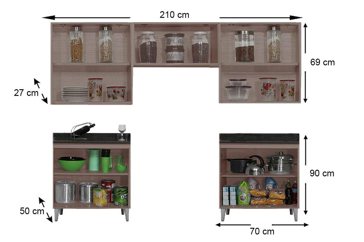 Cozinha Completa Itatiaia Jazz de Madeira c/ 5 Peças (3 Armários+ 2 Gabinetes c/Tampo)