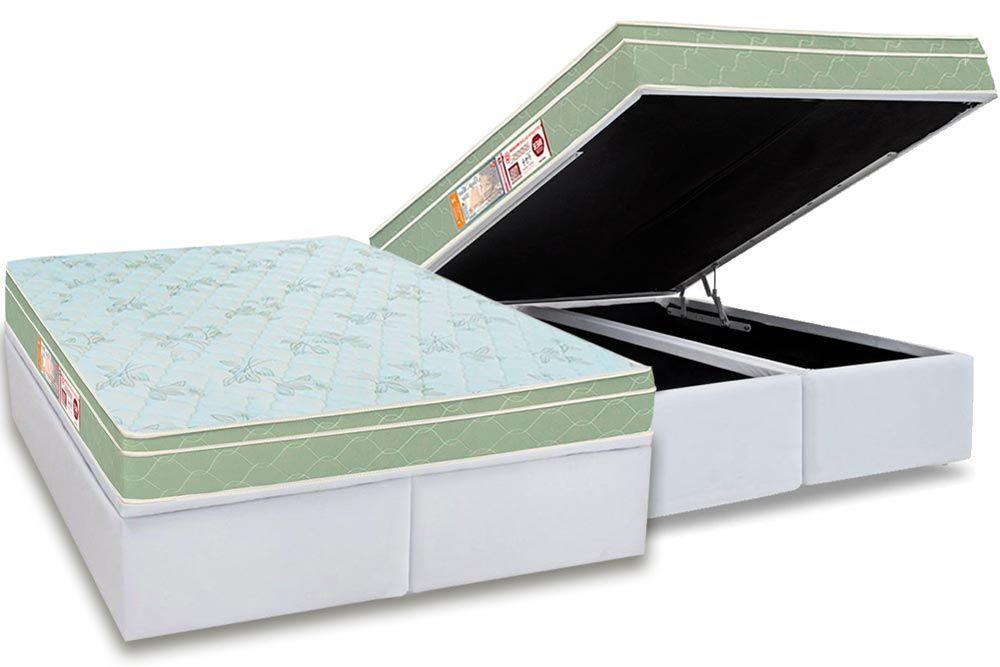 Conjunto Baú - Colchão Castor de Espuma D33 Sleep Max + Cama Box Baú Universal CRC Courino White