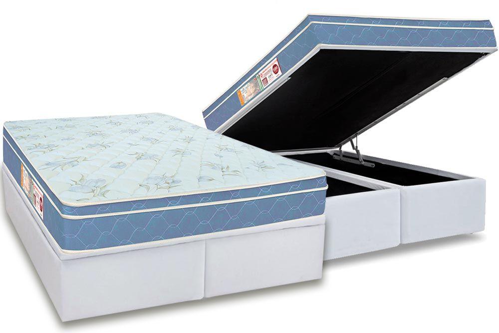 Conjunto Baú - Colchão Castor de Espuma D45 Sleep Max  + Cama Box Baú Universal CRC Courino White