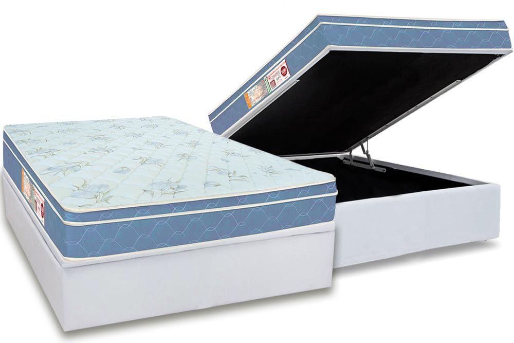Conjunto Box - Colchão Castor D45 Sleep Max + Cama Box Baú Universal CRC Courino White