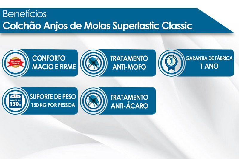 Conjunto Cama Box - Colchão Anjos de Molas Superlastic Classic 26cm + Cama Box Baú Courino Nero Black