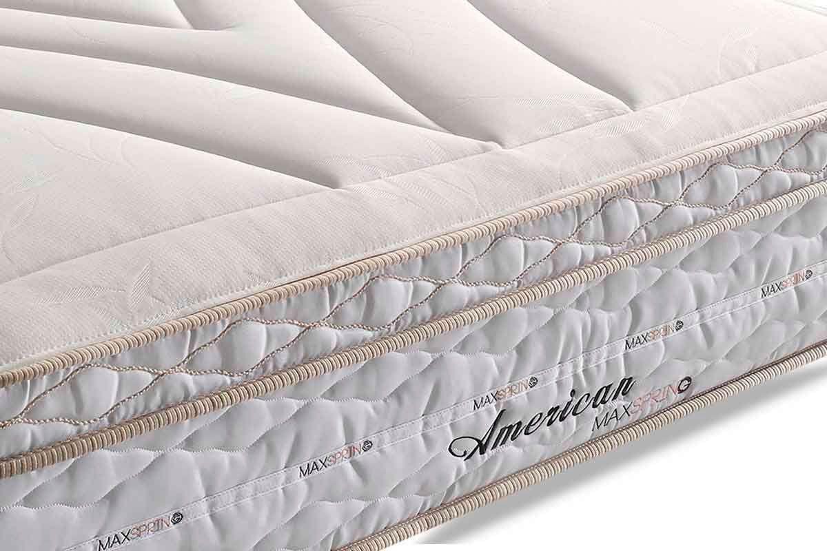 Conjunto Cama Box - Colchão Herval de Molas Maxspring American Pillow Top  + Cama Box Baú Courino White