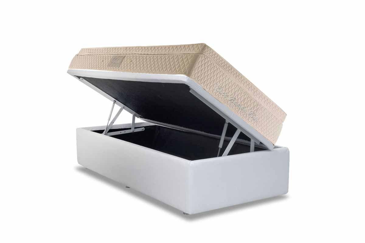 Conjunto Cama Box - Colchão Herval de Molas Pocket Euro Plus + Cama Box Baú Courino White