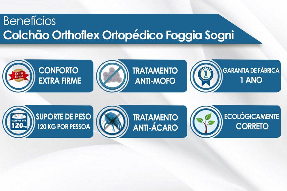 Conjunto Box Baú - Colchão Orthoflex Ortopédico Foggia Sogni + Cama Box Baú Universal CRC Courino Black