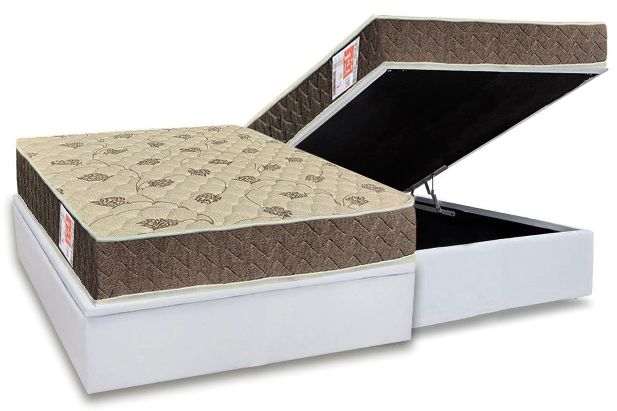 Conjunto Box Baú- Colchão Orthoflex de Espuma D33 Comfortpedic Line  + Cama Box Baú Universal CRC Courino White