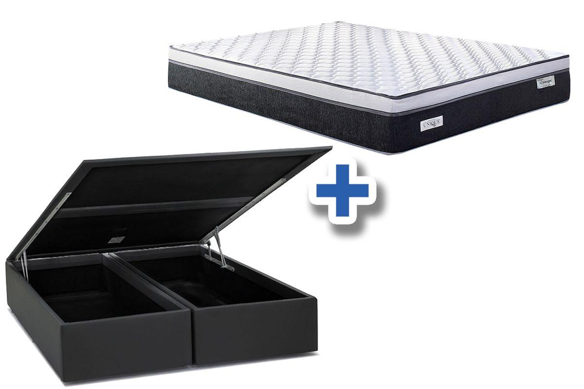 Conjunto Cama Box - Colchão Sealy de Molas Pocket Concept Dream Black + Cama Box Baú Courino Nero Black