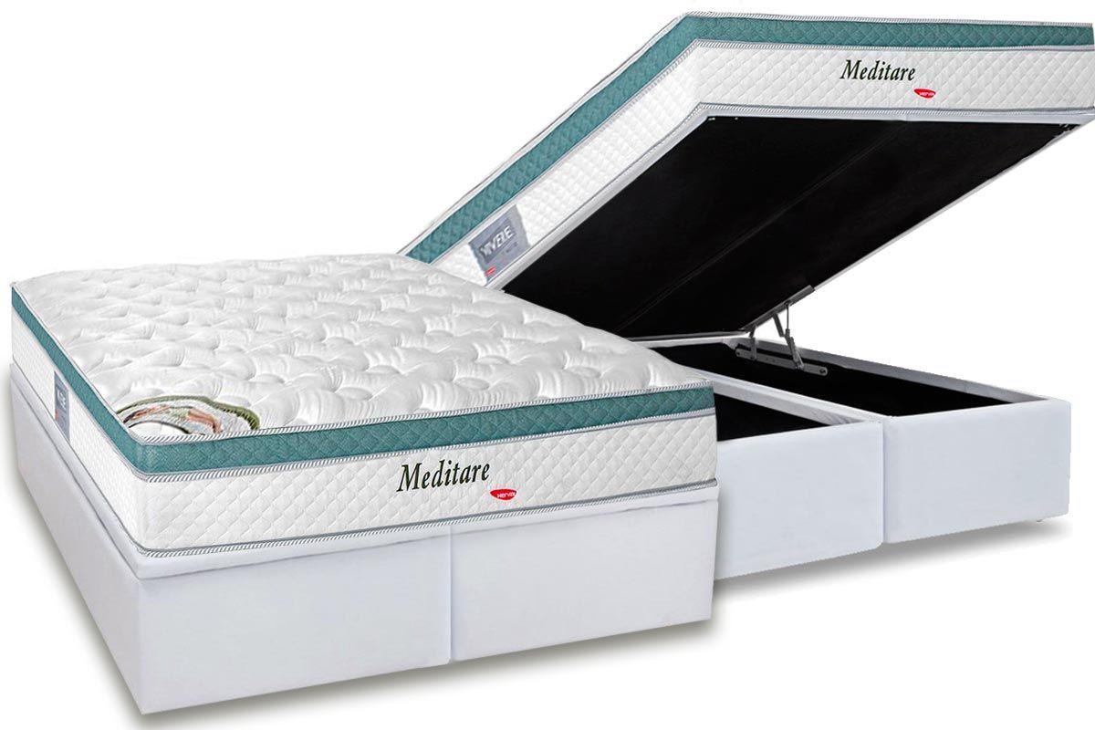 Conjunto Baú - Colchão Herval de Molas Pocket Meditare + Cama Box Baú Universal CRC Courino White