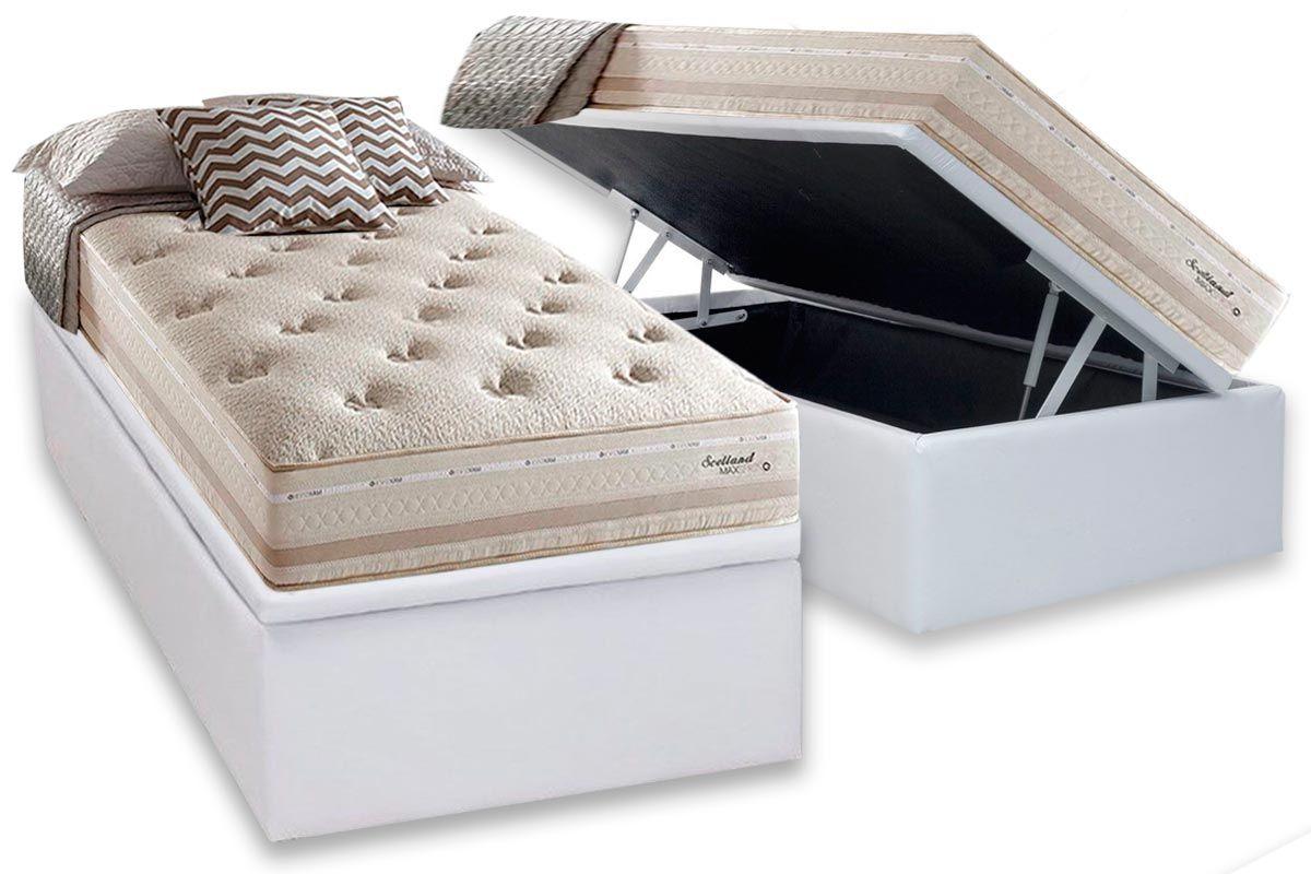 Conjunto Baú- Colchão Herval de Molas Maxspring Scotland + Cama Box Baú Universal CRC Courino White