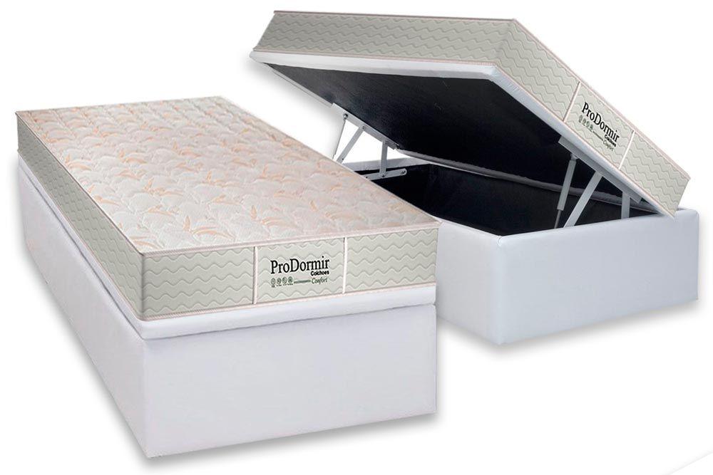 Conjunto Cama Box - Colchão Probel de Molas Prolastic PróDormir Confort + Cama Box Baú Universal CRC Couríno White