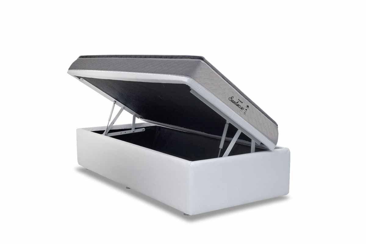 Conjunto Cama Baú- Colchão Probel de Molas Prolastic Suntuoso + Cama Box Baú Courino White