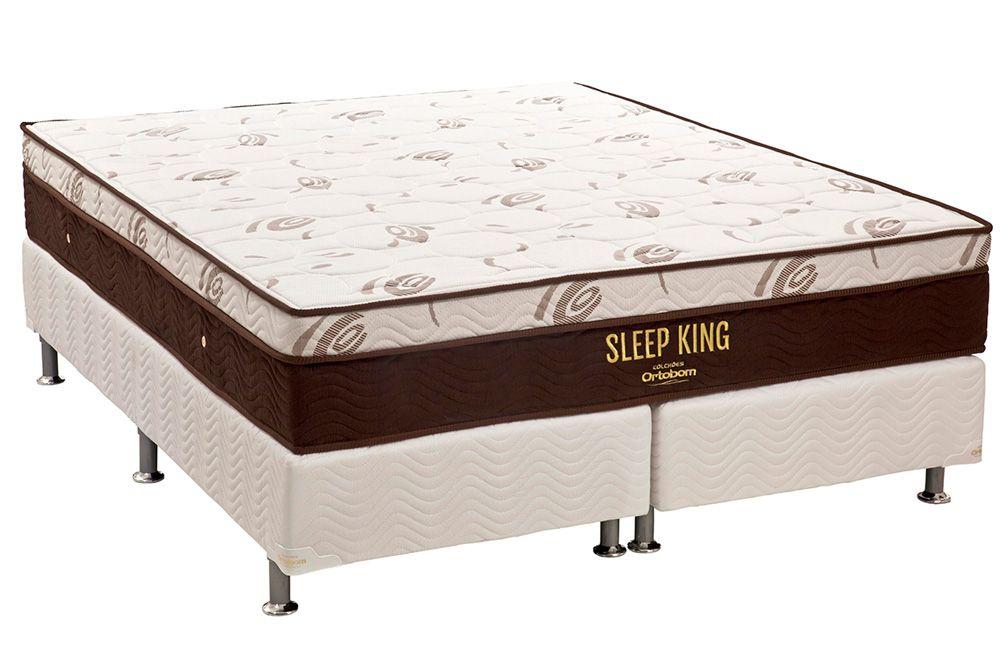Conjunto Cama Box - Colchão Ortobom de Molas Pocket Sleep King Látex + Cama Box Universal Tecido White