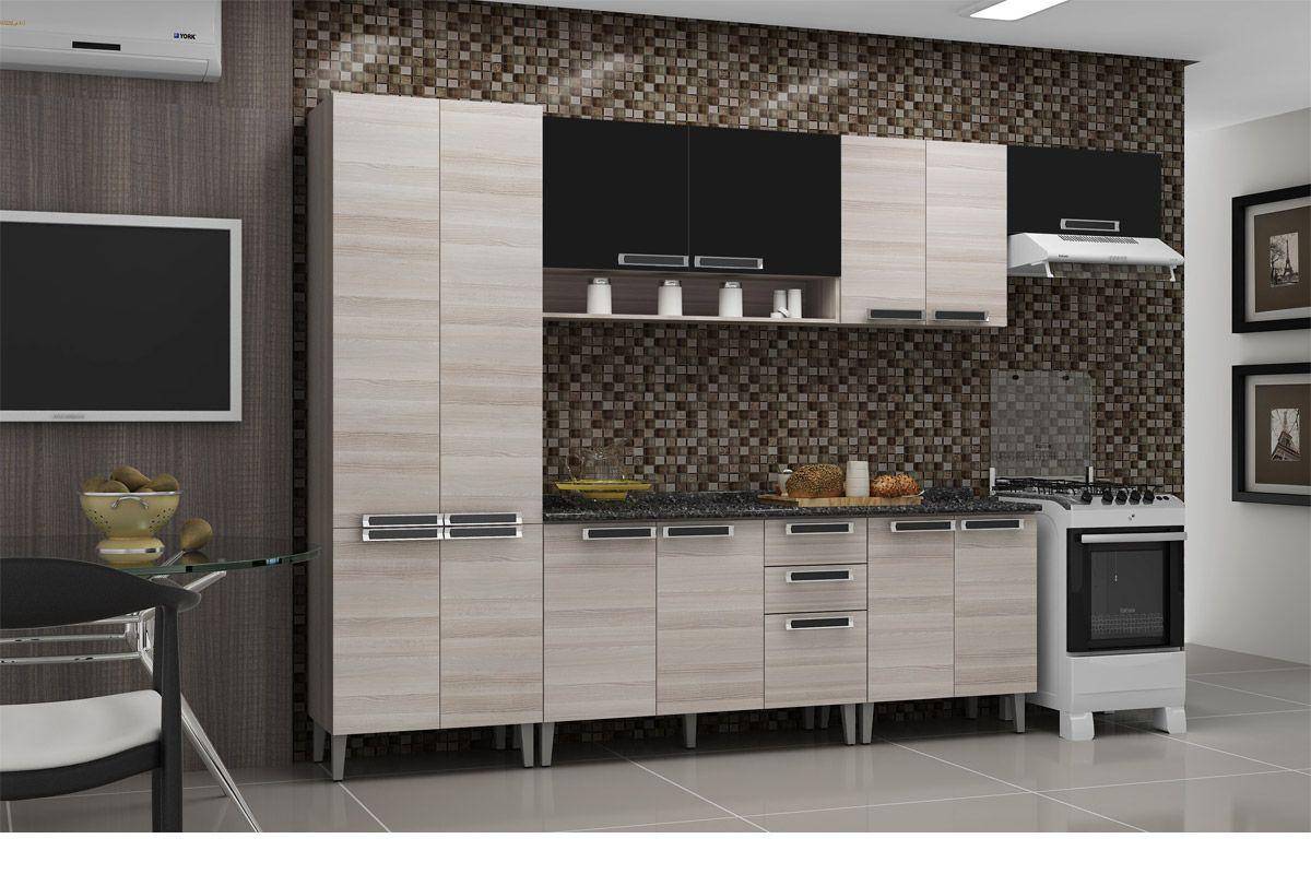 Gabinete de Cozinha Itatiaia Jazz Madeira 2 Portas C/ Tampo Costa  #655C4D 1200x800