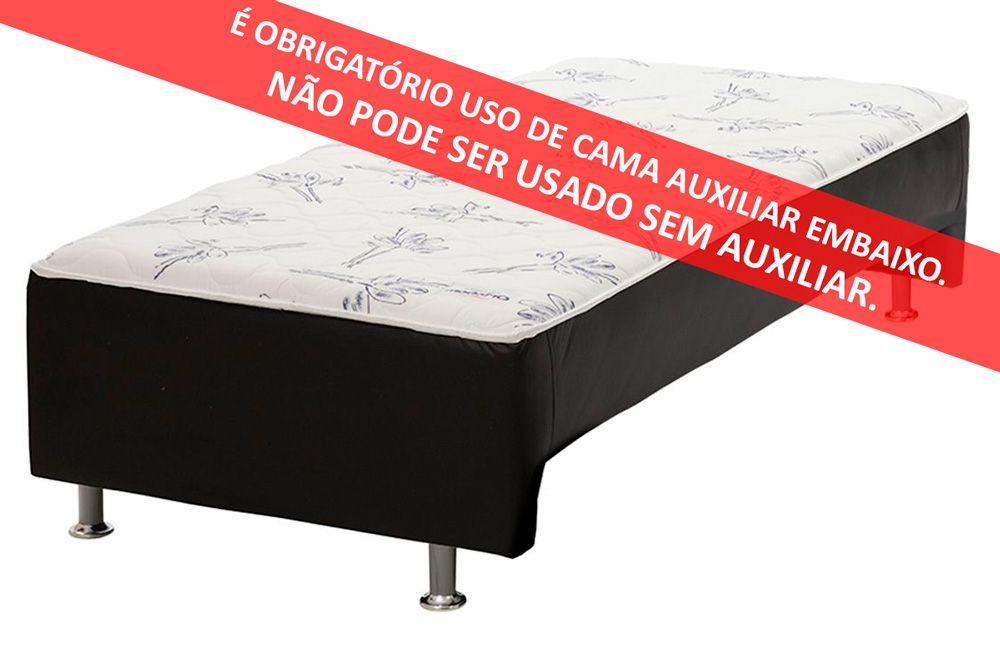 Conjunto Cama Box + Colchão Conjugado Ortobom Ortopédico c/ Auxiliar Courino Nero Vaz (Obrigatória a compra Cama Box + Auxiliar)