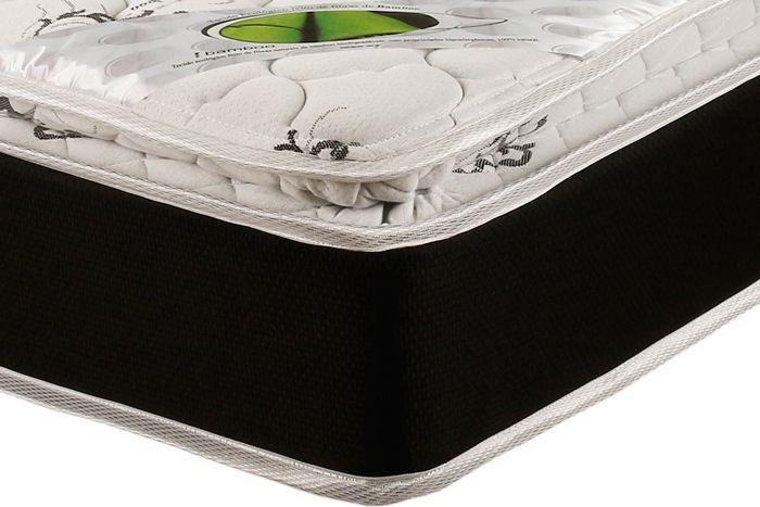 Conjunto Cama Box - Colchão Luckspuma de Molas Pocket Aspen Bamboo Pilow Top  + Cama Box Universal Nobuck Nero Black