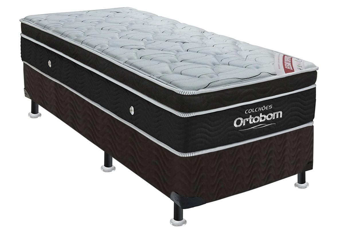 Conjunto Cama Box - Colchão Ortobom de Molas Pocket Elegant Euro Pillow + Cama Box Universal Nobuck Nero Black