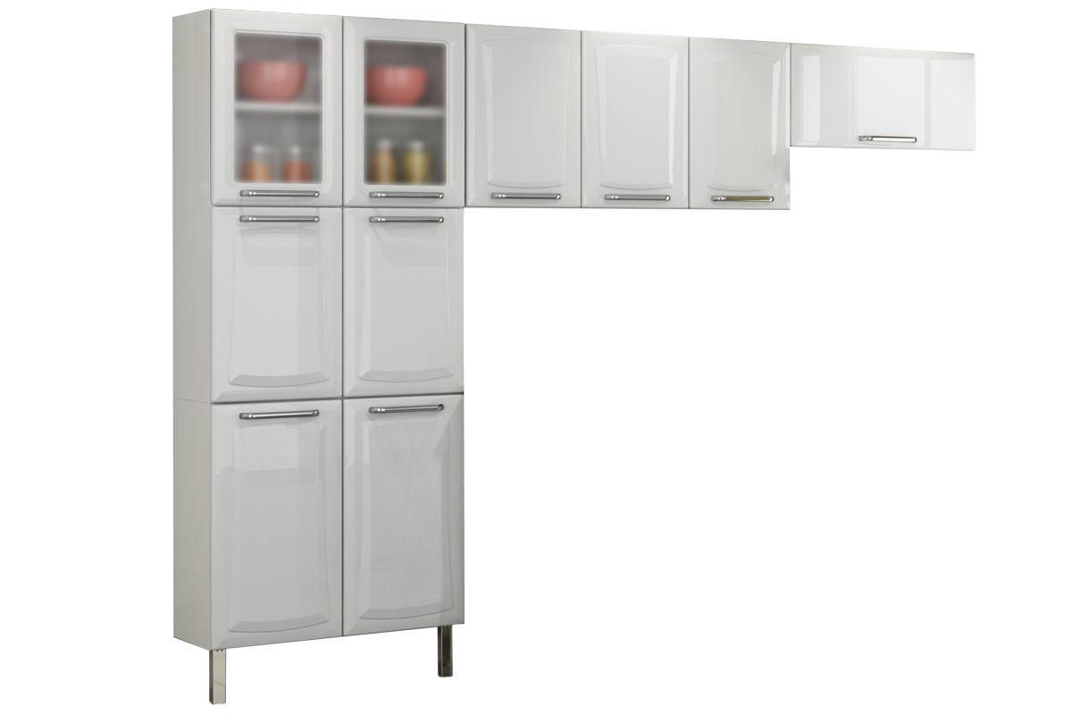 Cozinha Completa Itatiaia  Tarsila COZ 1 Aço 3 Peças (1 Paneleiro 2 Armários) c/ 2 Portas de Vidro