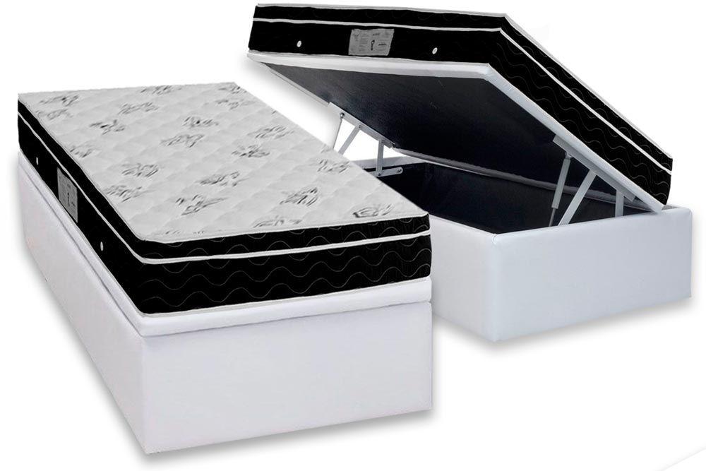 Conjunto Baú - Colchão Ortobom Nanolastic Physical Spring Ortopilow + Cama Box Baú Universal CRC Courino White