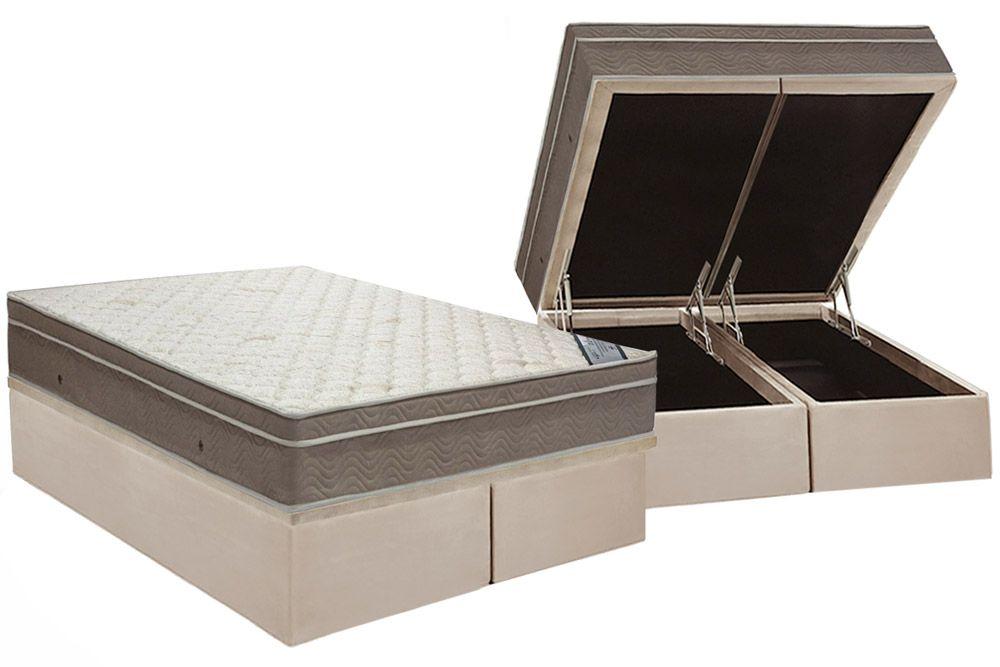 Conjunto Baú  - Colchão de Molas Pocket Light Saúde Ortopilow Ortobom + Cama Box Baú Nobuck Bege