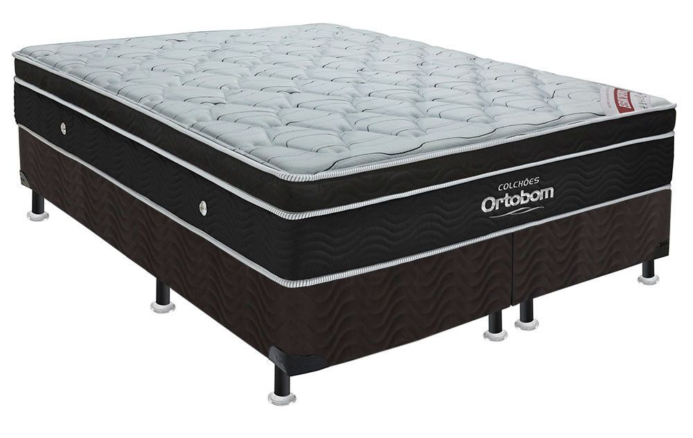 Conjunto Cama Box - Colchão de Molas Pocket Elegant Ortobom  + Cama Box Universal Nobuck Nero Black