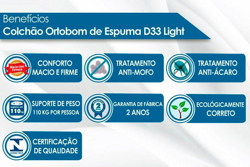Conjunto Baú - Colchão Ortobom D33 Light Saúde + Cama Box Baú Universal CRC Courino Black