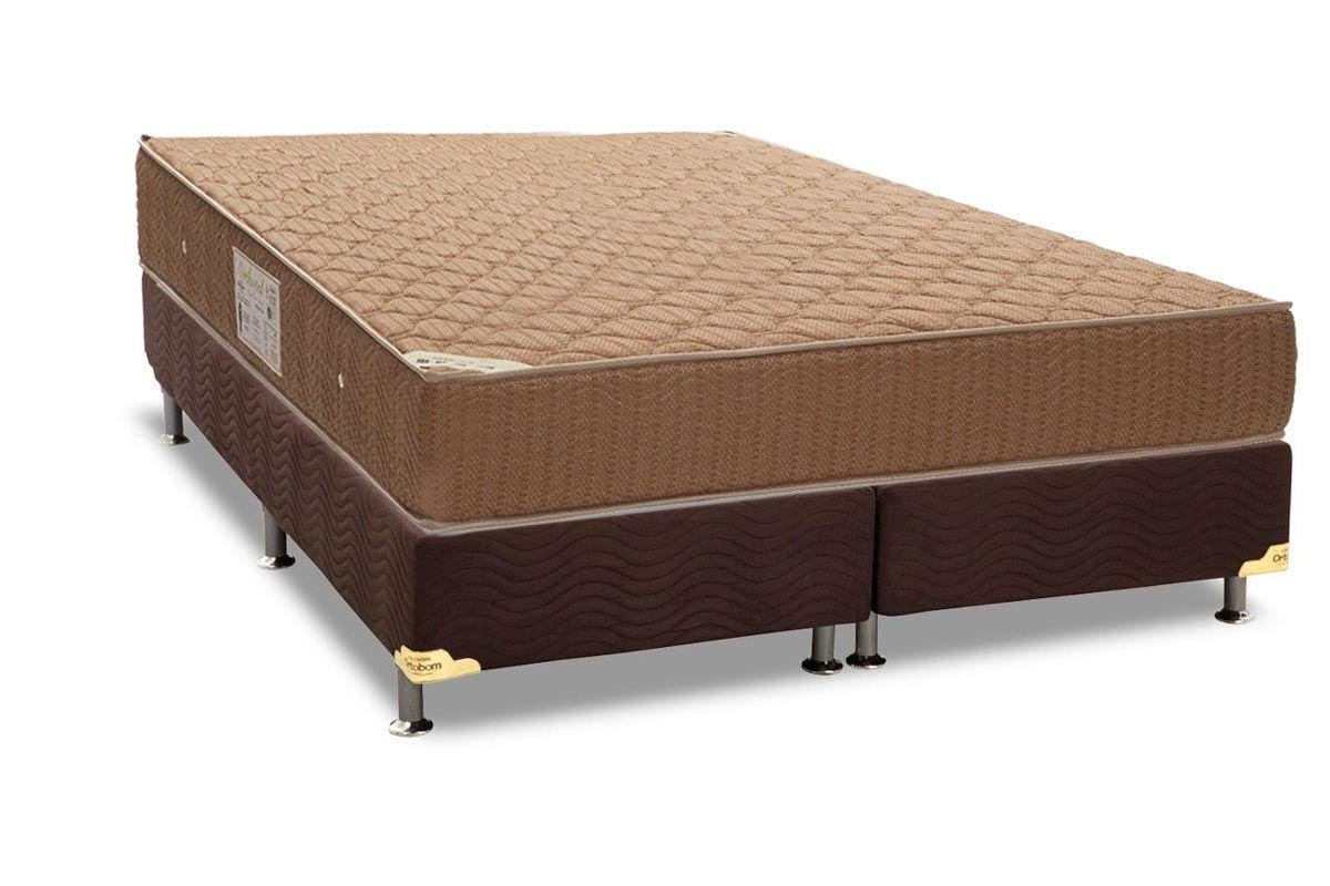 Conjunto Box - Colchão de Molas Nanolastic Orthotel Ortobom + Cama Box Universal Nobuck Rosolare Café