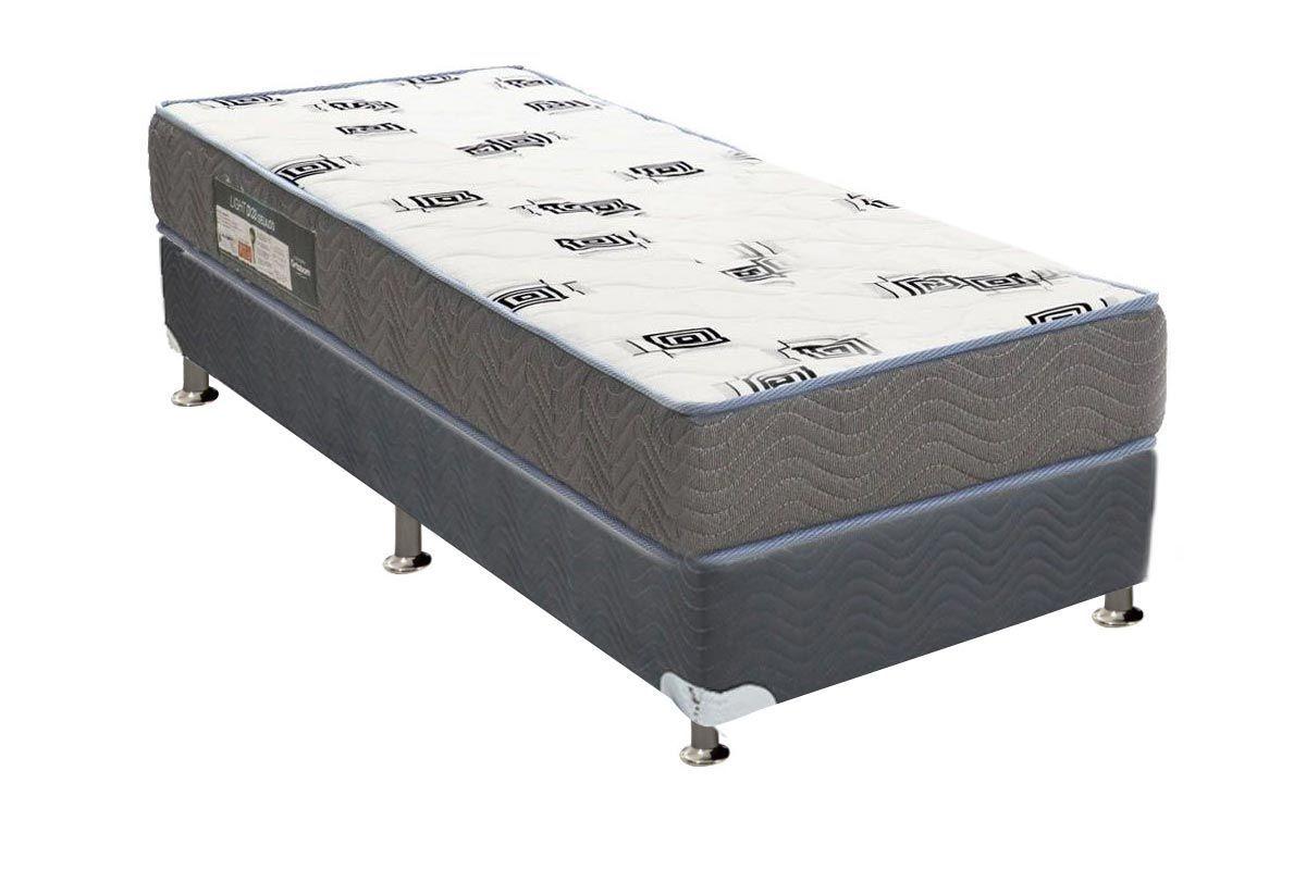 Conjunto Cama Box - Colchão Ortobom de Espuma D33 Light Saúde + Cama Box Universal Nobuck Cinza