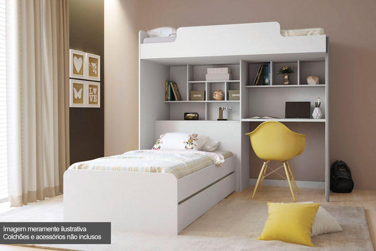 Treliche c/ Escrivaninha Office New + Cama Auxiliar Santos Andirá (Módulo Office+Cama Juvenil)