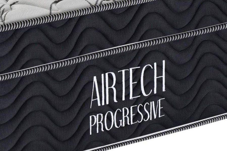 Conjunto Cama Box - Colchão Ortobom Molas Nanolastic Fort Airtech Progressive + Box Universal Nobuck Nero Black