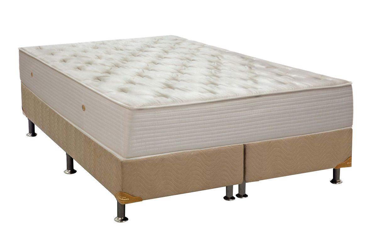Conjunto Cama Box - Colchão Ortobom de Molas Multilastic Orthotel Superluxo + Box Universal Nobuck Bege