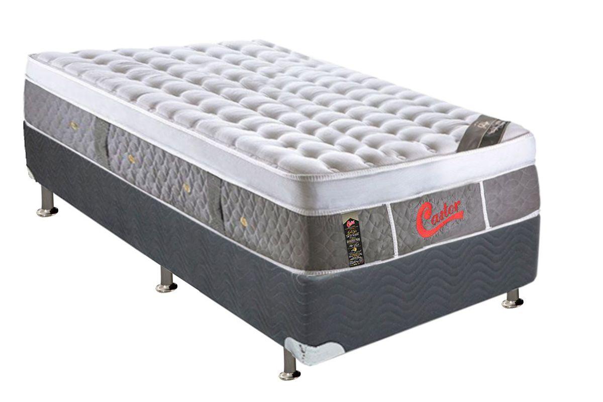 Conjunto Box - Colchão Castor de Molas Pocket Light Stress Oxygen New Plush Visco + Cama Box Universal Nobuck Cinza