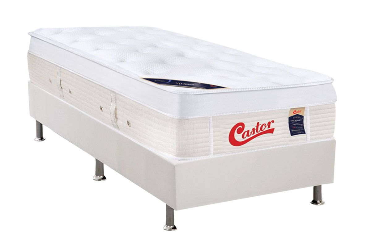 Conjunto Box - Colchão Castor Molas Pocket Gold Star Vitagel Max + Cama Box Universal Courino White
