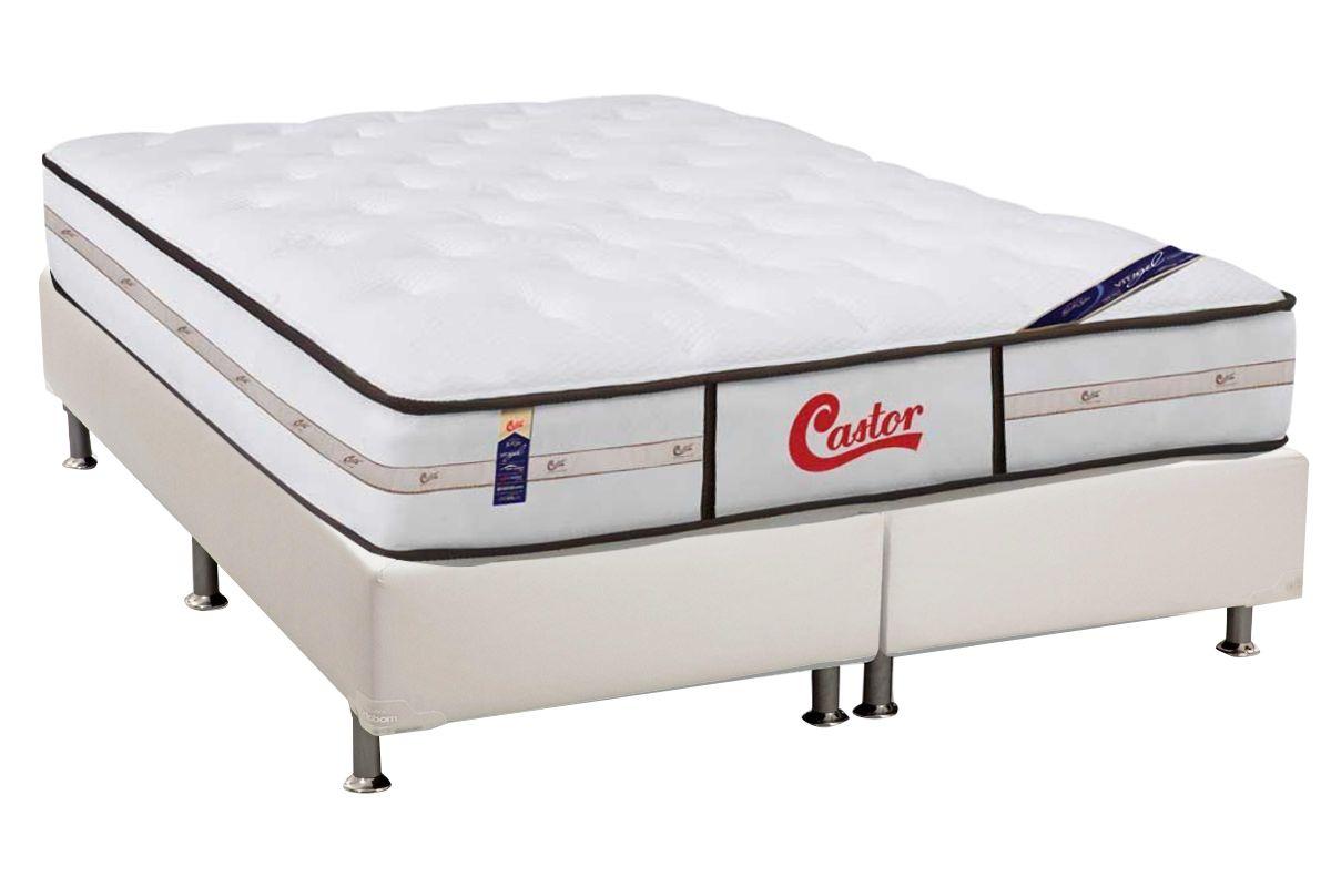 Conjunto Box - Colchão Castor Molas Pocket Gold Star Vitagel Classic Double Face + Cama Box Universal Courino White