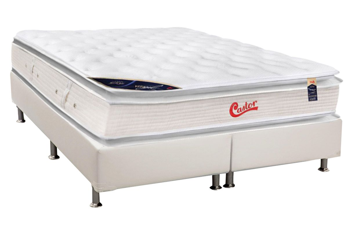 Conjunto Box - Colchão Castor Molas Pocket Viategel SLX Double Face + Cama Box Universal Courino White