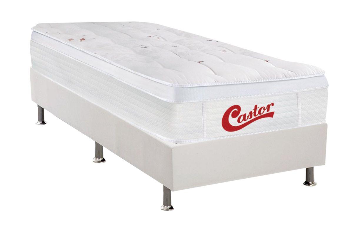 Conjunto Box- Colchão Castor Molas Pocket  Skin + Cama Box Universal Courino White