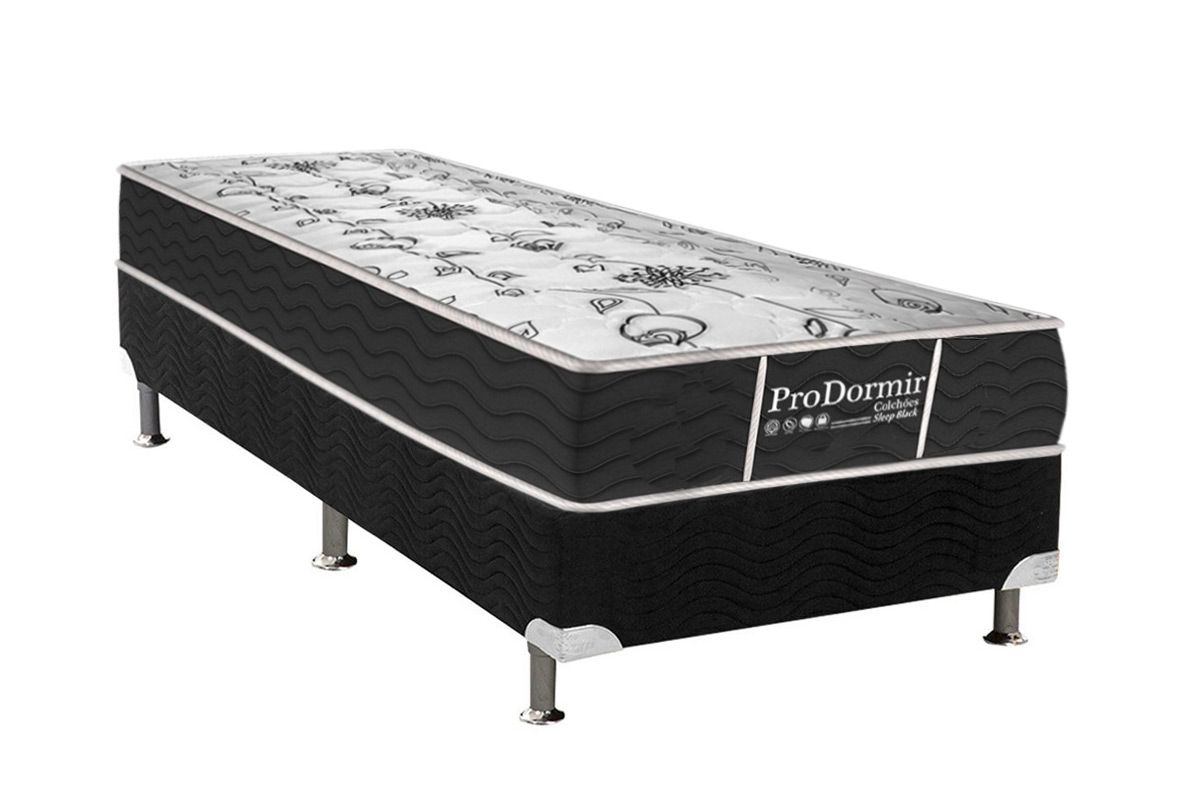 Conjunto Cama Box - Colchão Probel de Molas Bonnell ProDormir Sleep Black + Box Universal Nobuck Nero Black