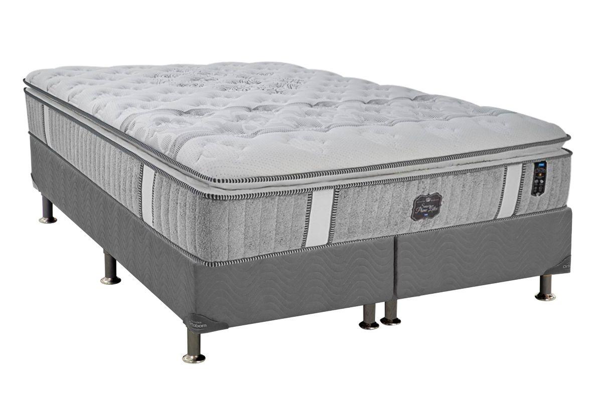Conjunto Cama Box + Colchão Probel Pocket Sensory Prime Látex Pillow Top + Box Universal Nobuck Cinza