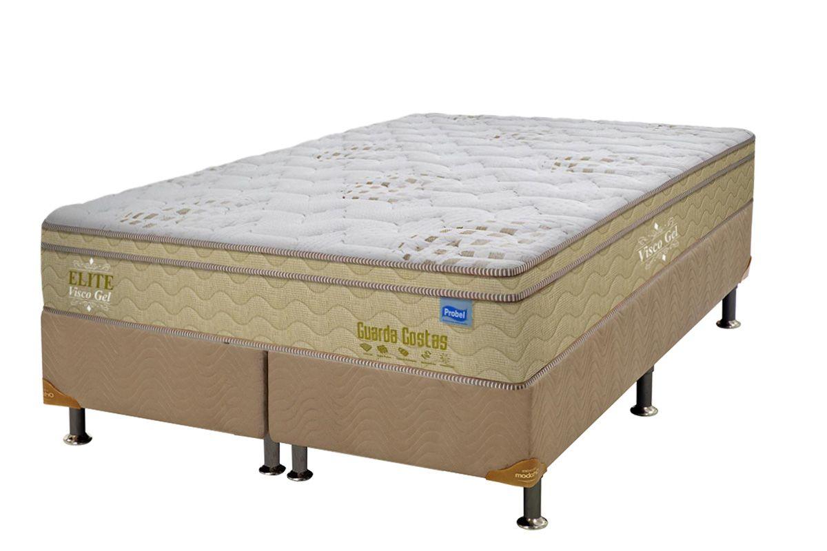 Conjunto Cama Box - Colchão Probel de Molas Pocket Guarda Costa Elite Viscoelástico Euro Pillow + Cama Box Universal Nobuck Bege Crema