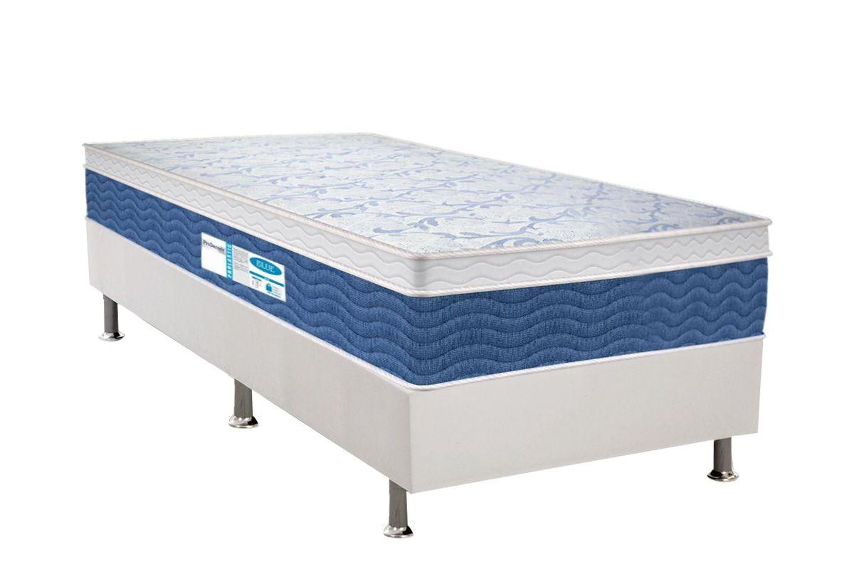 Conjunto Cama Box - Colchão Probel de Molas Prolastic ProDormir Blue + Cama Box Universal CRC Courino White