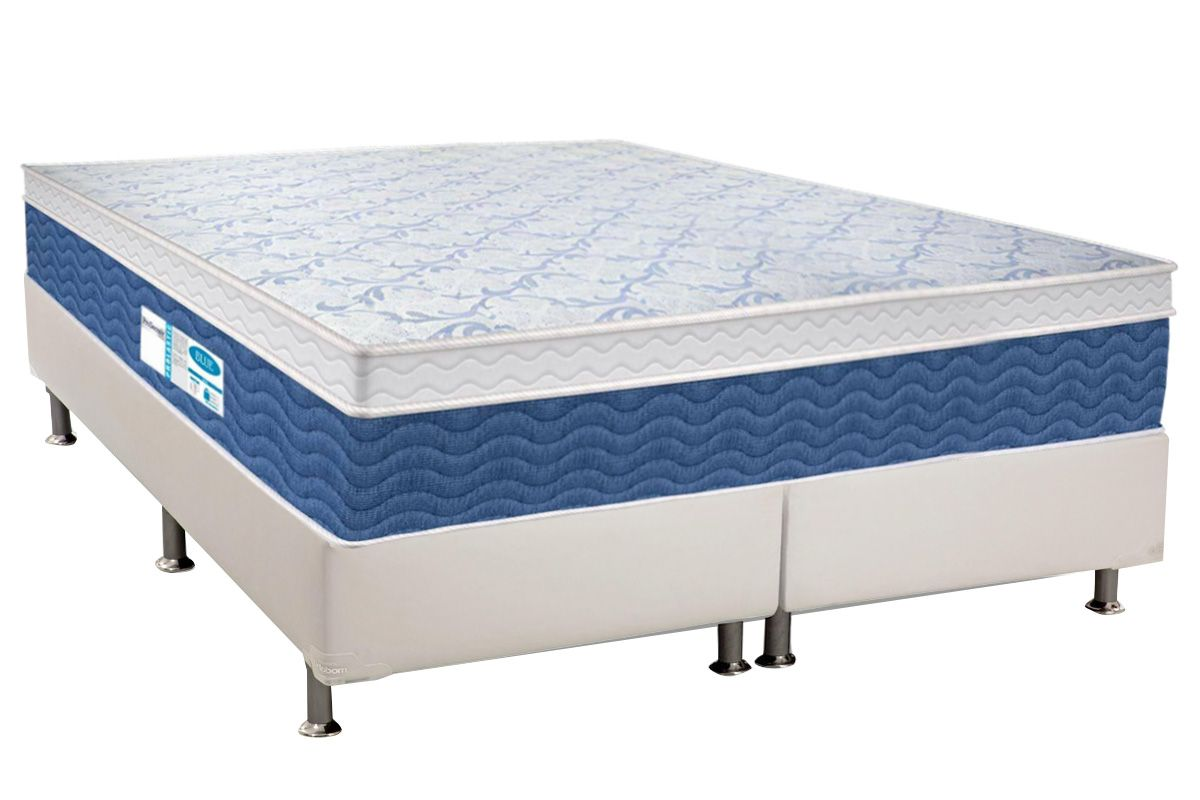 Conjunto Cama Box - Colchão Probel de Molas Prolastic ProDormir Blue Euro Pillow + Cama Box Universal Courino White