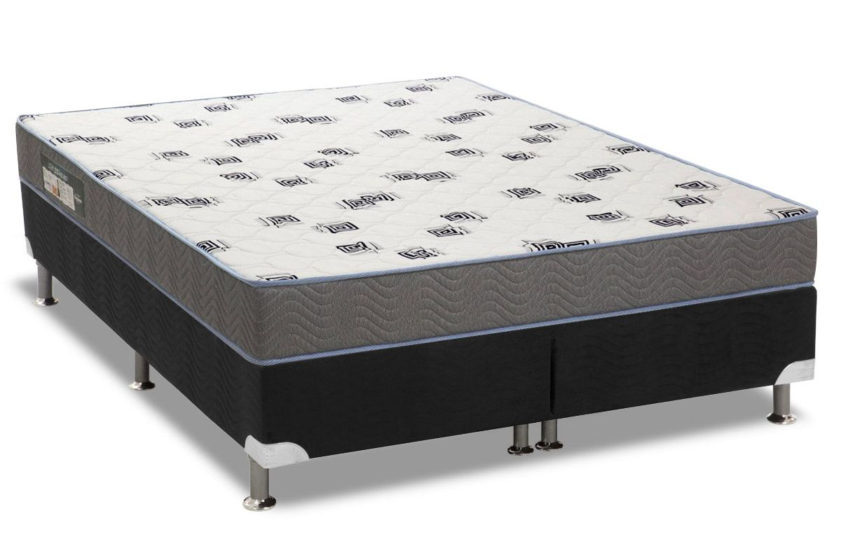 Conjunto Cama Box - Colchão Ortobom de Espuma D33 Light Saúde + Cama Box Universal Courino Black