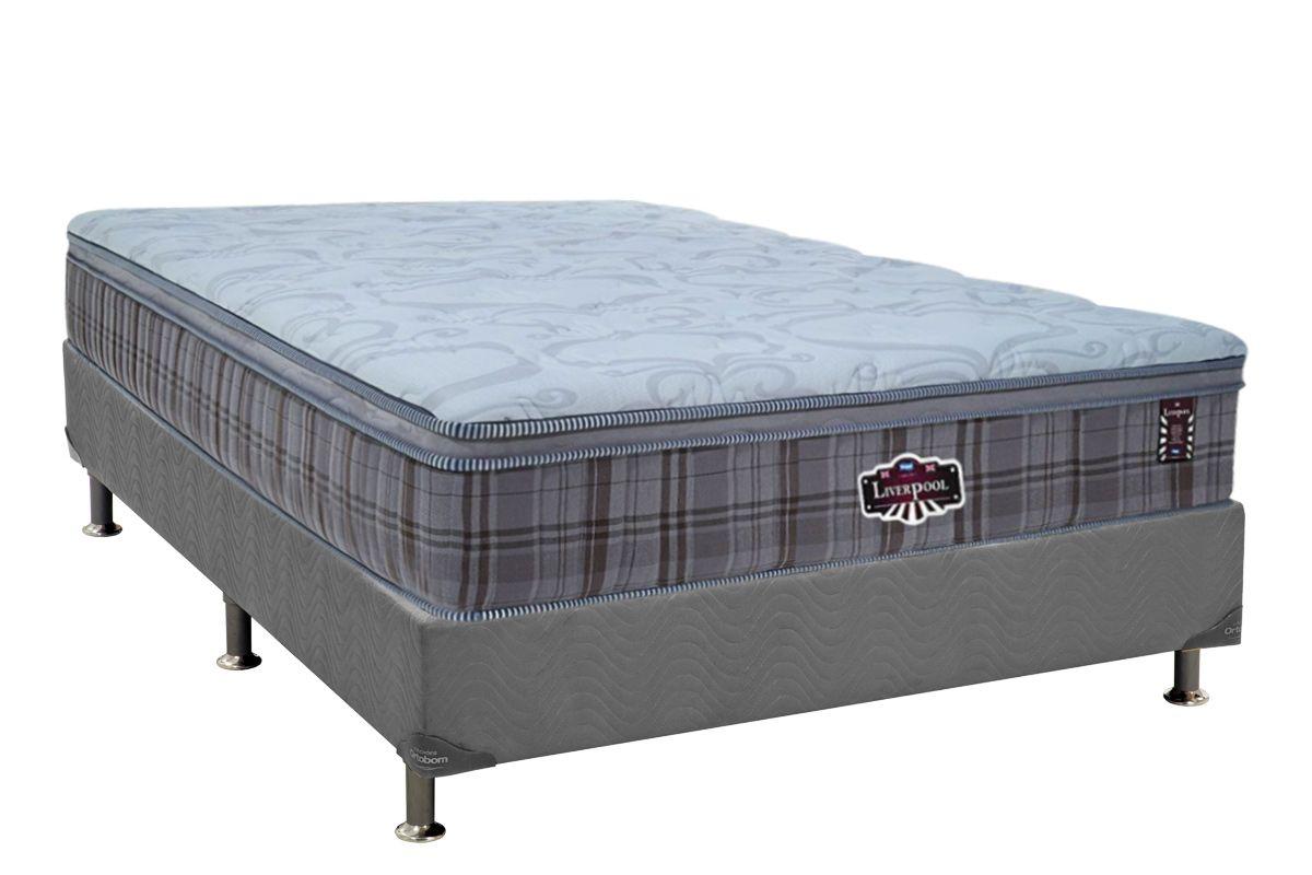 Conjunto Cama Box - Colchão Probel de Molas Pocket Liverpool + Cama Box Universal Nobuck Cinza