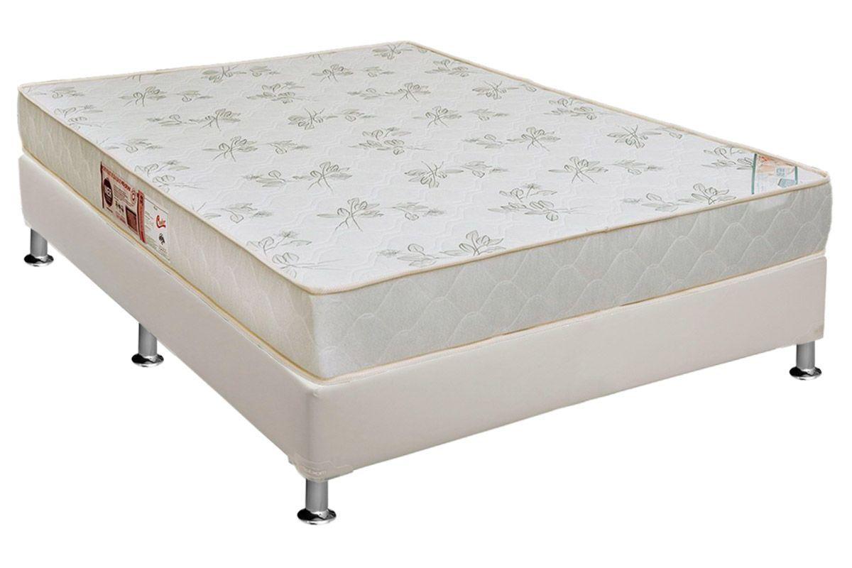 Conjunto Box - Colchão Castor de Espuma D33 Sleep Max Relax  + Cama Box Universal CRC Courino White