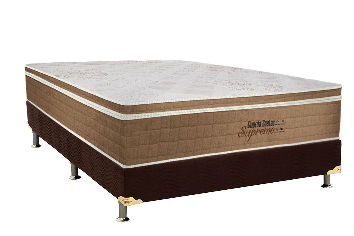Conjunto Cama Box - Colchão Probel de Molas Pocket Guarda Costas Supremo Pillow Euro + Cama Box Universal Nobuck Rosolare Café