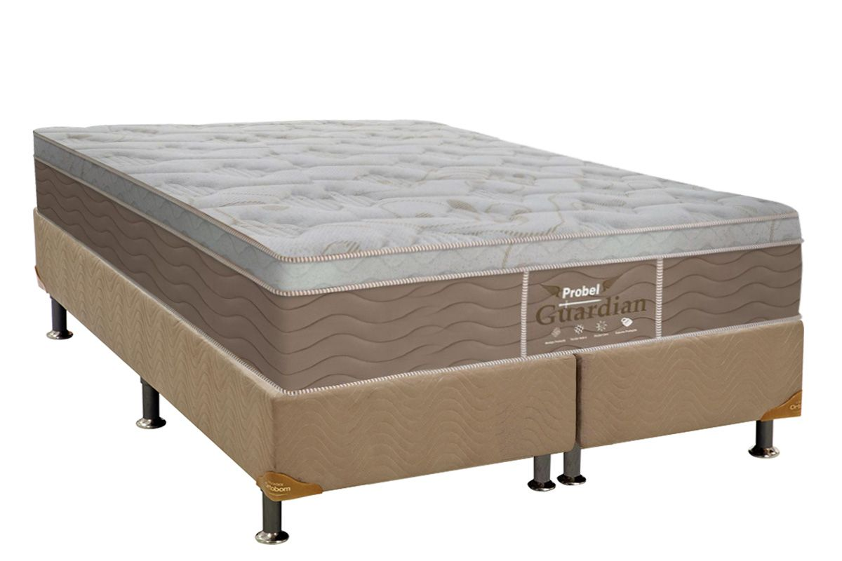 Conjunto Cama Box - Colchão Probel de Molas Prolastic Guardian Pillow Euro + Cama Box Universal Nobuck Bege Crema
