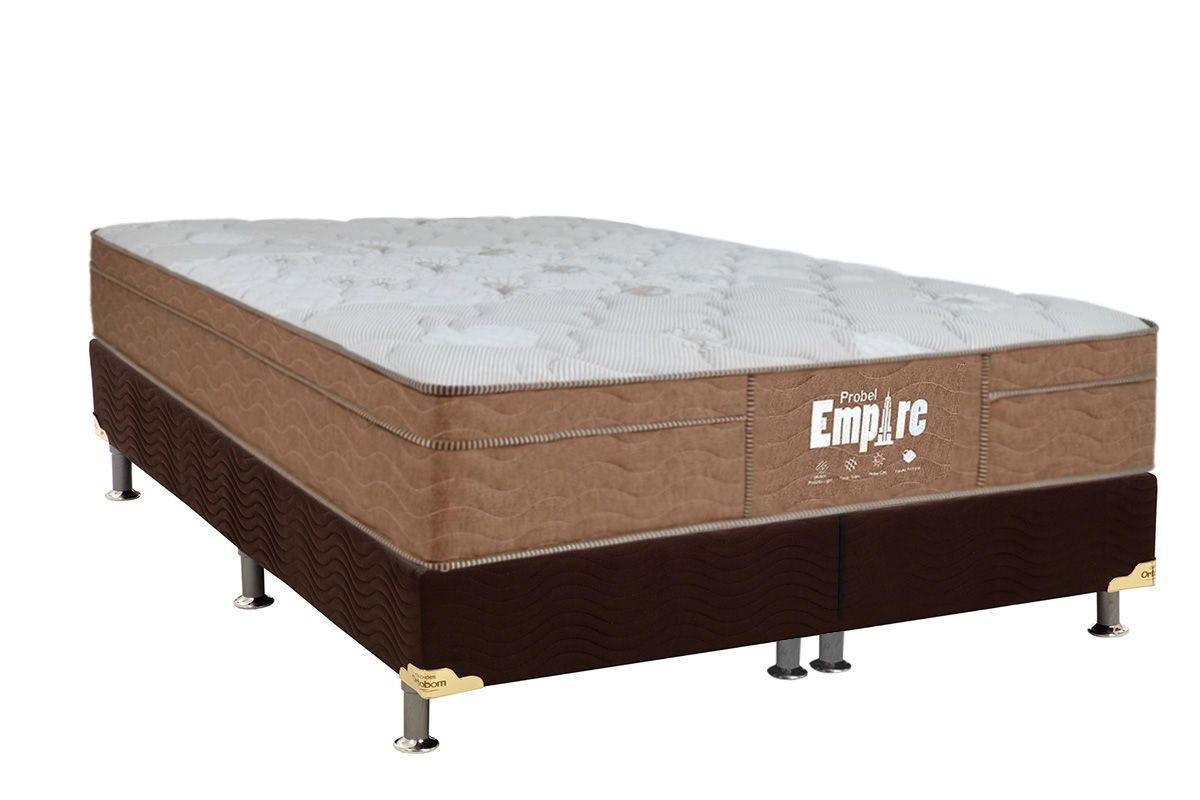 Conjunto Cama Box - Colchão Probel de Molas Bonnell Empire Pillow Euro + Cama Box Nobuck Rosolare Café