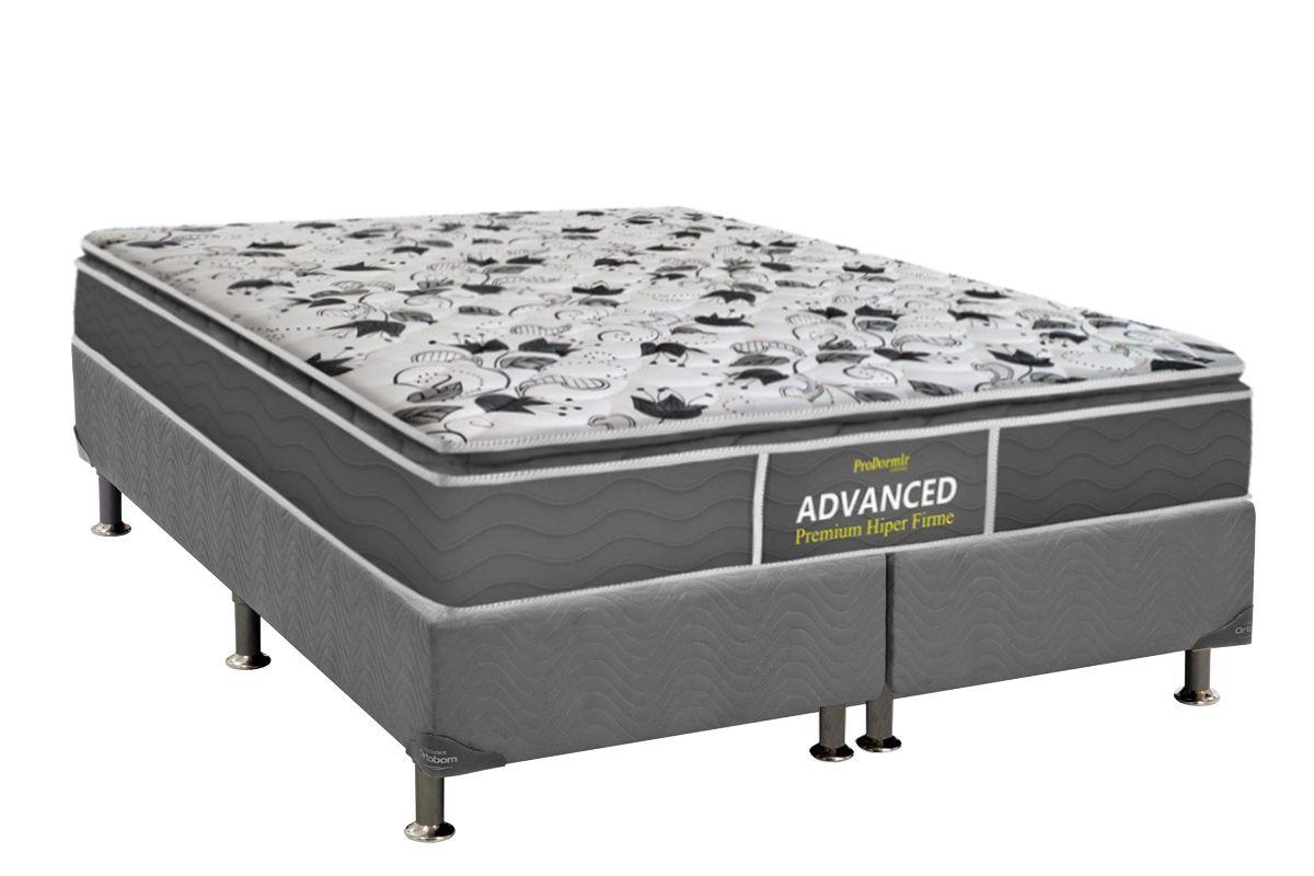 Conjunto Cama Box - Colchão Probel de Espuma ProDormir Advanced Premium Hiper Firme Pillow Top + Cama Box Universal Nobuck Cinza