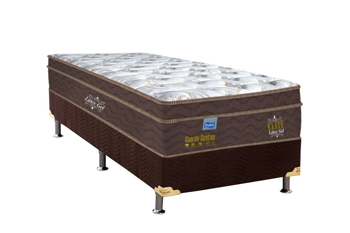 Conjunto Cama Box - Colchão Probel de Mola Pocket Guarda Costa Elite Látex Gel Pillow Euro + Cama Box Universal Nobuck Rosolare Café